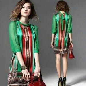 New Chic Green Dress Mini Dress Half Sleeves Satin